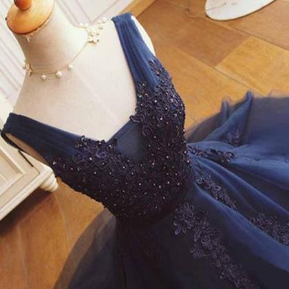 Navy Lace Homecoming Dresses, Tulle..