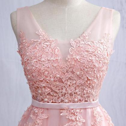 Pink V Neck Tulle Prom Dress, Open ..