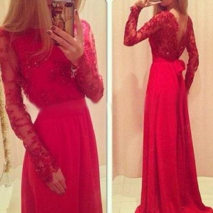 Red Prom Dress, Long Sleeve Prom Dr..