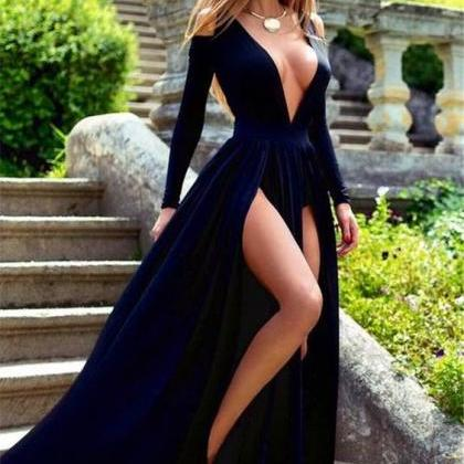 Long Sleeve Deep V-Neck Prom Dress,..
