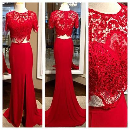 Red Two Pieces Prom Dresses, Red La..