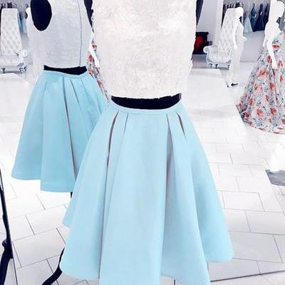 Babyblue two pieces short homecomin..