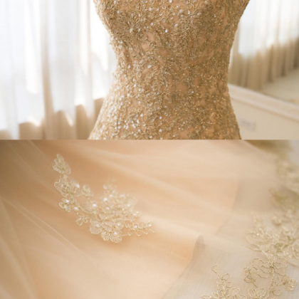 Strapless Champagne Wedding Dress,A..