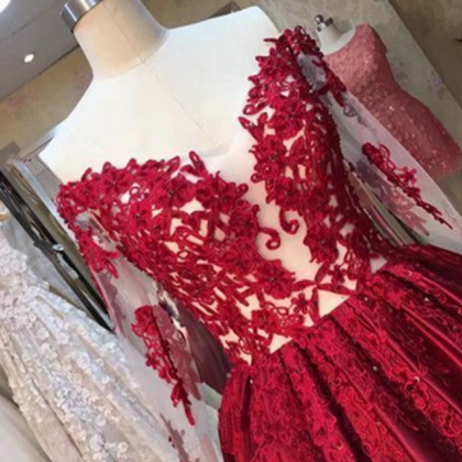 Long Sleeves Red Ball Gown prom dre..