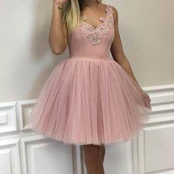pink homecoming dress,short tulle p..
