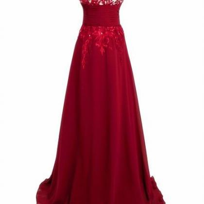 Red Long Evening Dress Prom Gown Se..