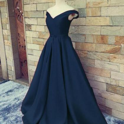 Charming Dark Navy Blue A Line Prom..