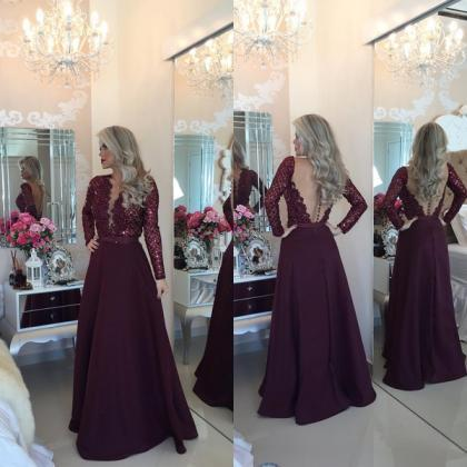 Burgundy Prom Dresses,Lace Prom Gow..
