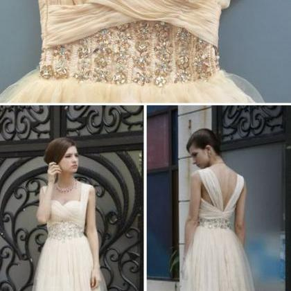 Light Champagne Prom Dress,Modest P..