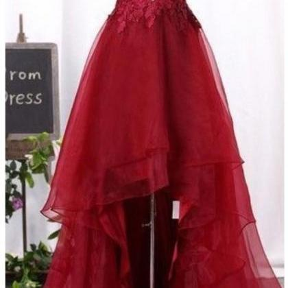 Burgundy High Low Prom Dresses,Cock..