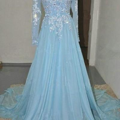Charming Prom Dress Long Sleeve Prom Dress A-Line Prom Dress,Appliques Prom Dress Chiffon Prom Dresses,Evening Gowns,Lace Party Gowns