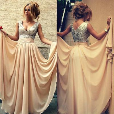 chiffon prom dress ,chiffon bridesmaides dress, Hot Sale Sexy Special Occasion Dresses V Neck Sequin Pleats Formal A Line Long Chiffon Champagne Prom Dresses ,Backless Evening Dress