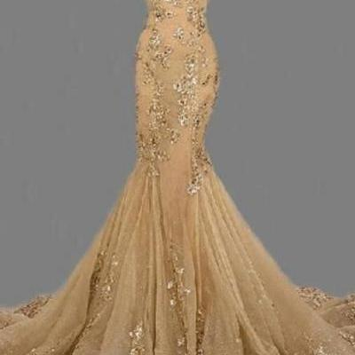 Fashion Sexy Gold Sweetheart Long Prom Dress,Handmade Gold Formal Women Evening Dress