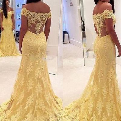 Elegant Mermaid Yellow Prom Dresses,Lace Off Shoulder Long Prom Dress,Beaded Prom Dress,Fashion Evening Dress