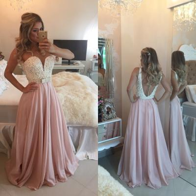 Chiffon Prom Dresses,Pale Pink Prom Dress,Modest Prom Gown,Backless Prom Gowns,Pearls Evening Dress,Princess Evening Gowns,Sparkly Party Gowns,Backless Prom Gowns,Open Back Evening Dress