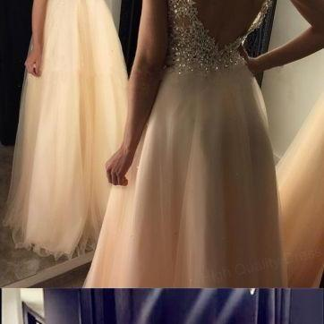 Chic Lace Appliques Prom Dress,Beaded V Neck Evening Dresses,Open Back Long Champagne Prom Dresses,Long Prom Dresses