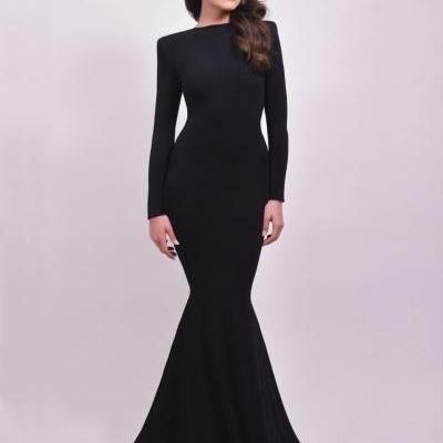 Black Prom Dresses,Mermaid Prom Dress,Simple Prom Gown,Backless Prom Dresses,Sexy Evening Gowns,Evening Gown,Open Back Long Sleeves Dress For Teens