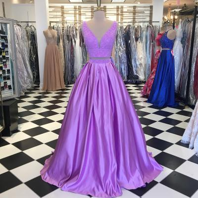 Gorgeous V-Neck Two Piece Lilac Long Prom Dress,Satin Prom Dress ,Party Dresses,Long Sexy Formal Dress,Evening Dresses