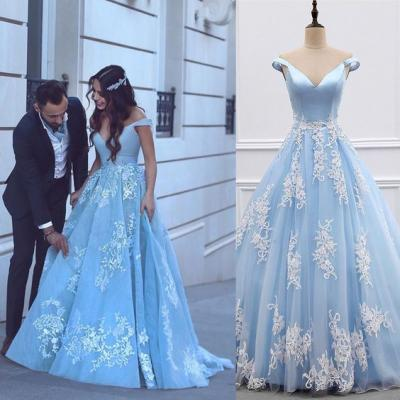 satin tulle light blue prom dress,ball gown prom dresses,lace appliques evening gowns, engagement party prom dress