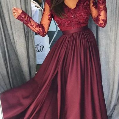 Burgundy Long Sleeves Prom Dress,V Neck Lace Top A Line Long Prom Dresses ,Lace Prom Dresses,Evening Gowns,Formal Dress