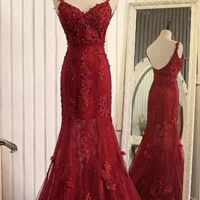 Formal Dresses,Straps Beads Mermaid Evening Dresses with Lace Appliques,Red Pageant Gowns