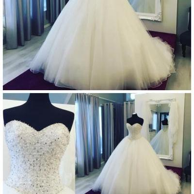 White Tulle Wedding Dresses, Wedding Gown,Fully Crystal Beaded Sweetheart Ball Gowns Wedding Dress