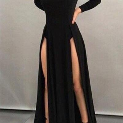 Black Sheath High-neck Front-splits Sleeves Long Sexy Evening Dresses, Prom Dresses,Sexy Party Dress, New Evening Dress