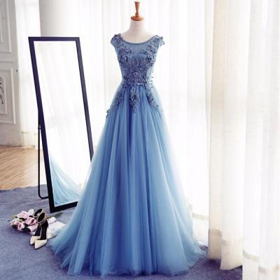 Blue Floor Length Tulle A-Line Prom Gown, Featuring Floral Appliqués Prom Dresses,Bateau Neck Bodice Evening Dresses,Cap Sleeves Sexy Evening Gowns,Evening Gown,Party Dress,Satin Formal Gowns For Teens