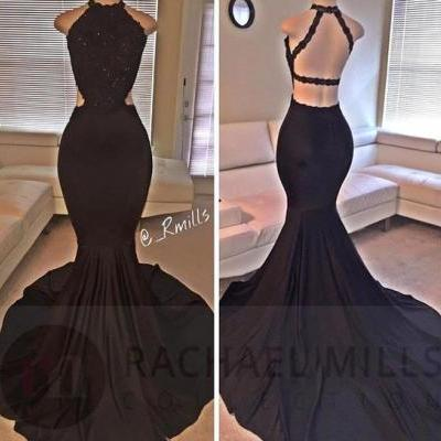 Black Floor Length Prom Dresses,Mermaid Prom Dress,Lace Prom Dress,Backless Evening Gowns