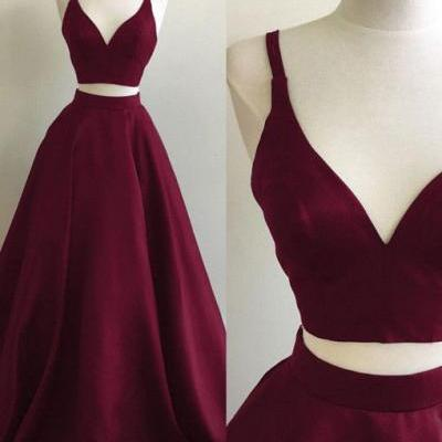 Burgundy A-line Straps Two Piece Formal Dress, Sleeveless Elegant Prom Dress, formal dress,sexy prom dress