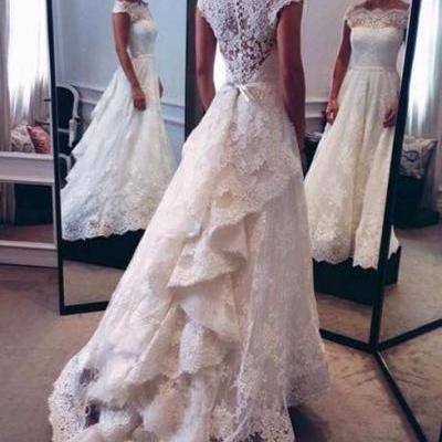 Lace Wedding Gowns,Modest Bridal Dress,Wedding Dress With Cap Sleeves,White Brides Dress,Elegant Wedding Gowns