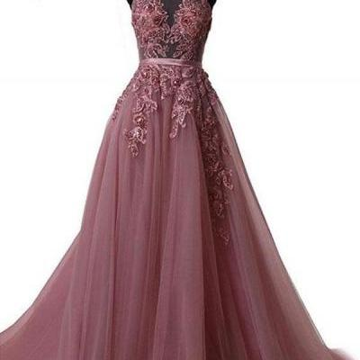 Lace Appliqués Mesh Halter Floor Length Tulle A-Line Formal Dress Featuring Lace-Up Open Back, Prom Dress