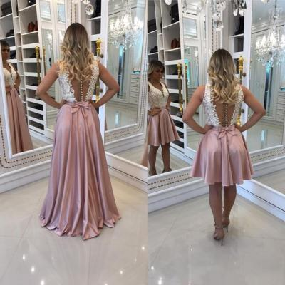 v-neck Short Prom Dress with Attachable Long Skirt,Long Prom Dress, Formal Dress, Evening Dress