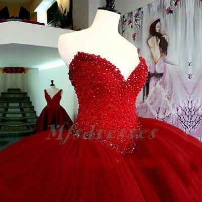 Luxury Heavy Beading Red Quinceanera Dresses Long Puffy Ball Gown Crystal Sweetheart Tulle Vestidos De 15 Prom Dress For Girls Red Ball Gown Prom Dresses