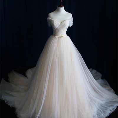 simple light champagne tulle long wedding dress, champagne tulle wedding dresses