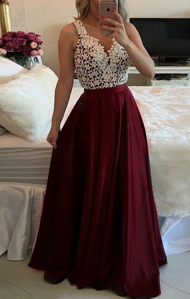 Charming A Line Prom Dress - V Neck Long Pleated Illusion Back with Appliques Pearls,Lace Evening Dress,Evening Gowns,Lace Party Gowns