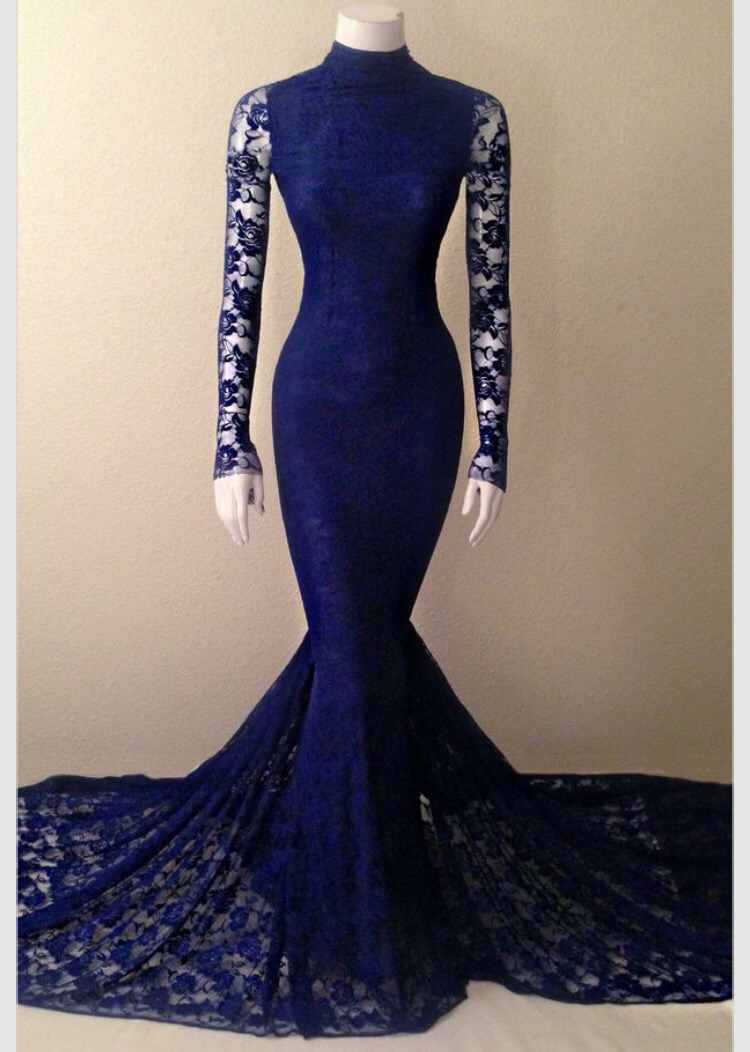 Navy Blue Lace High Neck Mermaid Evening Gown With Long Sleeves ...