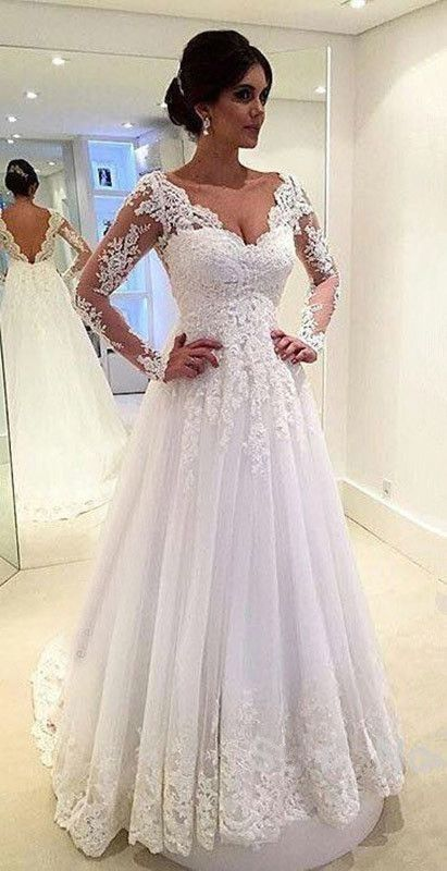 Charming Long Sleeve Wedding Dress Lace Dresses For Bride Bridal Gown Plus Size Costume