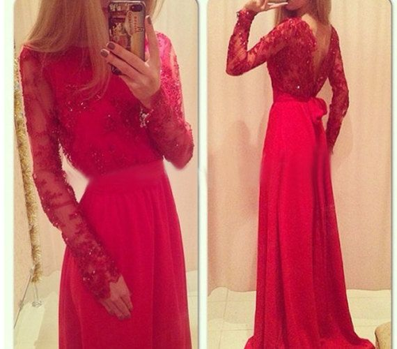 Red Prom Dress, Long Sleeve Prom Dress, Formal Prom Dress, Chiffon Prom Dress, Pretty Prom Dress, Occasion Dress, Long Prom Dress,Evening Dresses