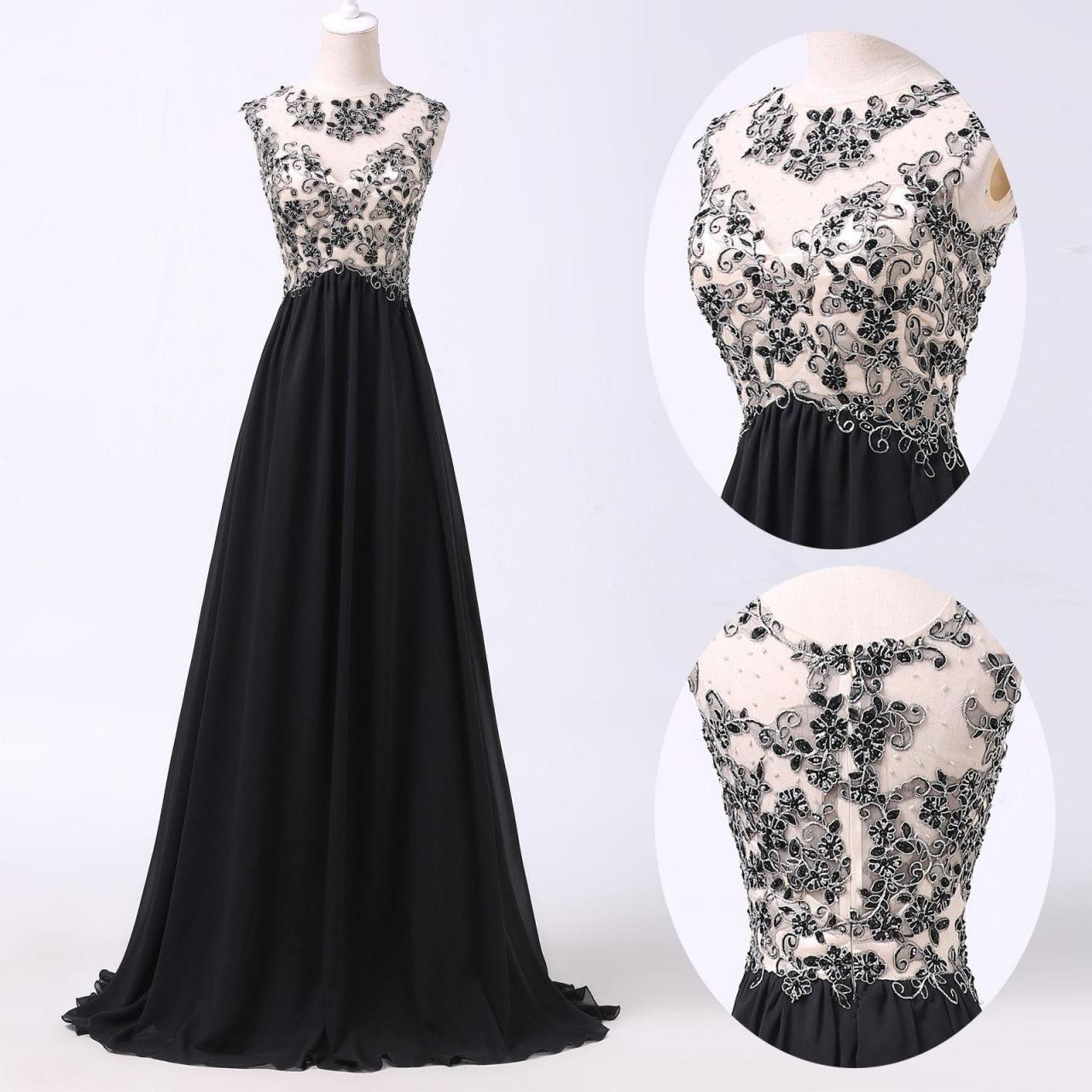 A Line Prom Dresses,Black Lace Prom Dress,Simple Prom Dress,Modest ...