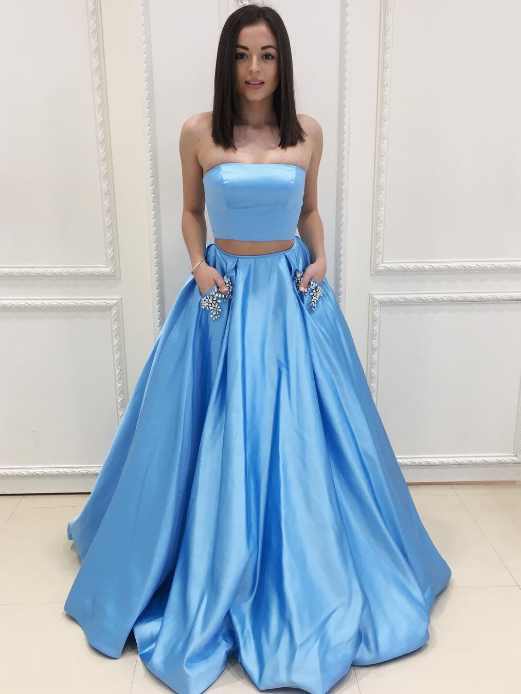 Two Piece Blue Long Prom Dress With Pockets,