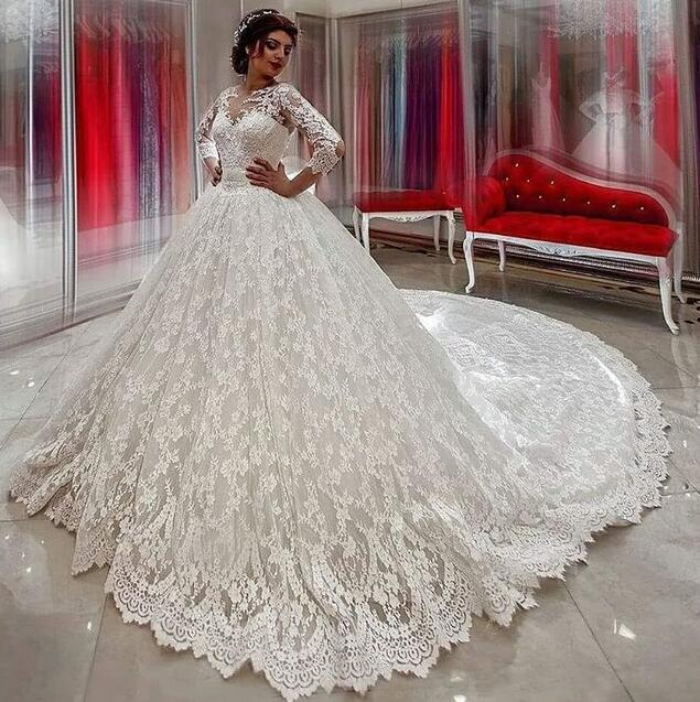 Beauty Wedding Dress,Ball Gown Wedding Dresses ,Long Sleeves Bridal  Gowns,Lace Wedding Dresses