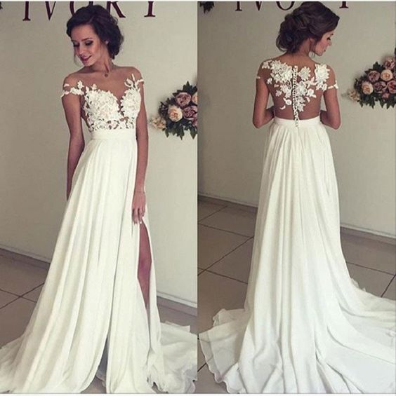 A-line Off the Shoulder Wedding Dress,See-through Sleeveless Wedding Dresses, Beaded Lace Appliqued Bridal Dresses,Bodice Mini length Beach Wedding Dress