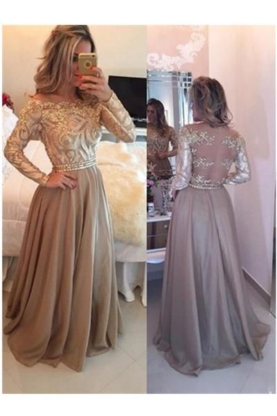 Gold Long Sleeve Evening Dress