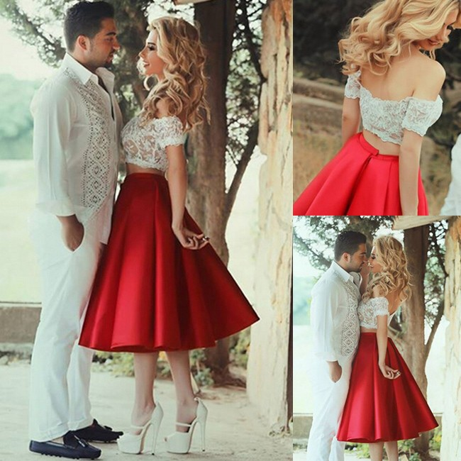 129a496c0e20 Sexy Two Piece Prom Dress -Red A-Line Off-the-Shoulder With ...