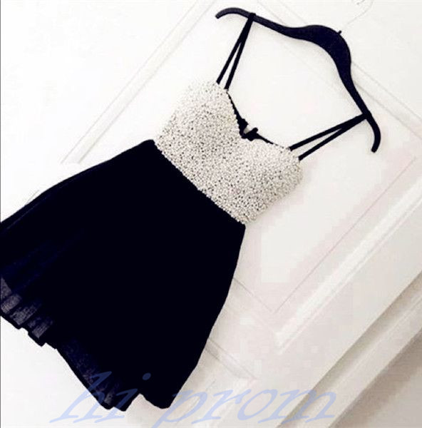 Black Homecoming Dress,Short Prom Gown,Chiffon Homecoming Gowns,Simple A Line With Spaghetti Straps Party Cocktail Dress,Short Prom Dresses