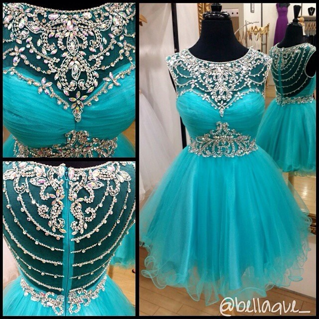 Blue Homecoming Dress,Short Prom Gown,Tulle Homecoming Gowns,A Line Beaded Party Dress, Elegant Prom Dresses