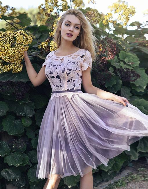 Cute lace homecoming dresses, tulle short prom dress, homecoming dress
