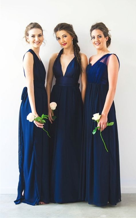 Simple Navy Blue Bridesmaid Dress One Shoulder Dresses Mismatched Long With Pleats Elegant Chiffon Wedding Party