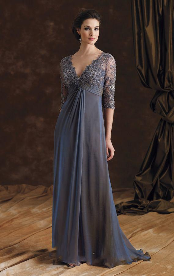 c060c343456 Sexy V Neck Grey Lace Long Mother Of The Bride Dresses
